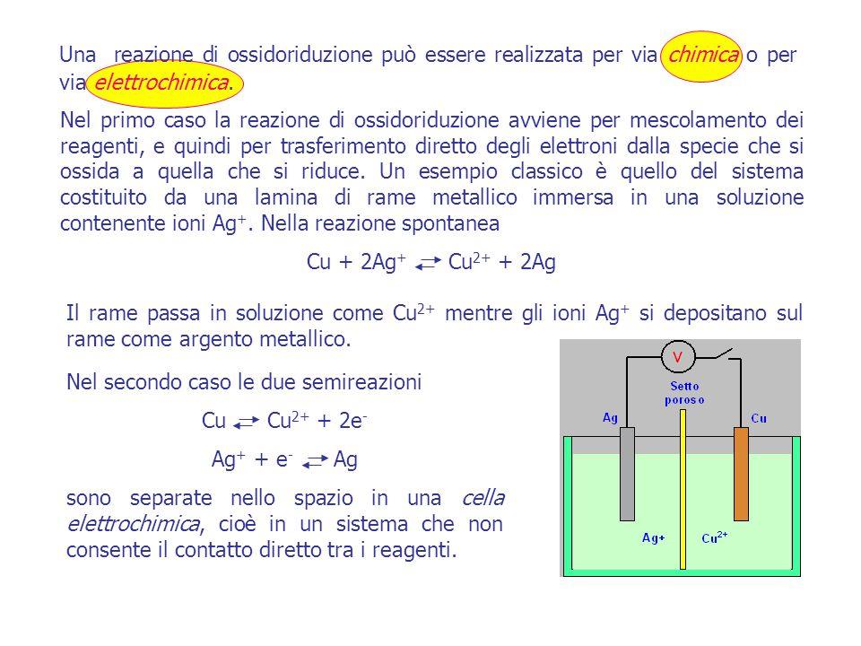 Il rame passa in soluzione come Cu 2+ mentre gli ioni Ag + si depositano sul rame come argento metallico.