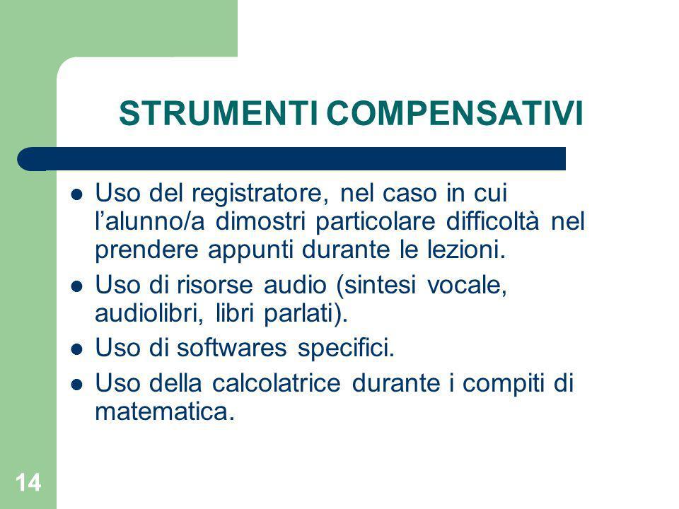 14 STRUMENTI COMPENSATIVI Uso del registratore, nel caso in cui l'alunno/a dimostri particolare difficoltà nel prendere appunti durante le lezioni.