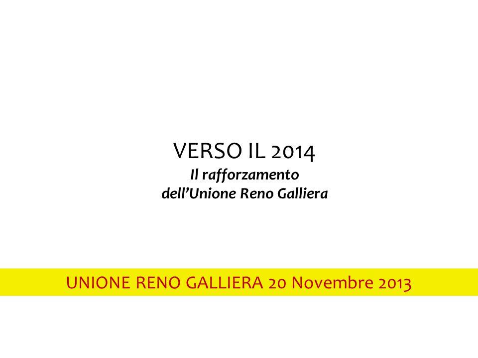 UNIONE RENO GALLIERA 20 Novembre 2013 VERSO IL 2014 Il rafforzamento dell'Unione Reno Galliera
