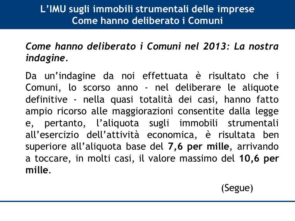 L'IMU sugli immobili strumentali delle imprese Come hanno deliberato i Comuni Come hanno deliberato i Comuni nel 2013: La nostra indagine.