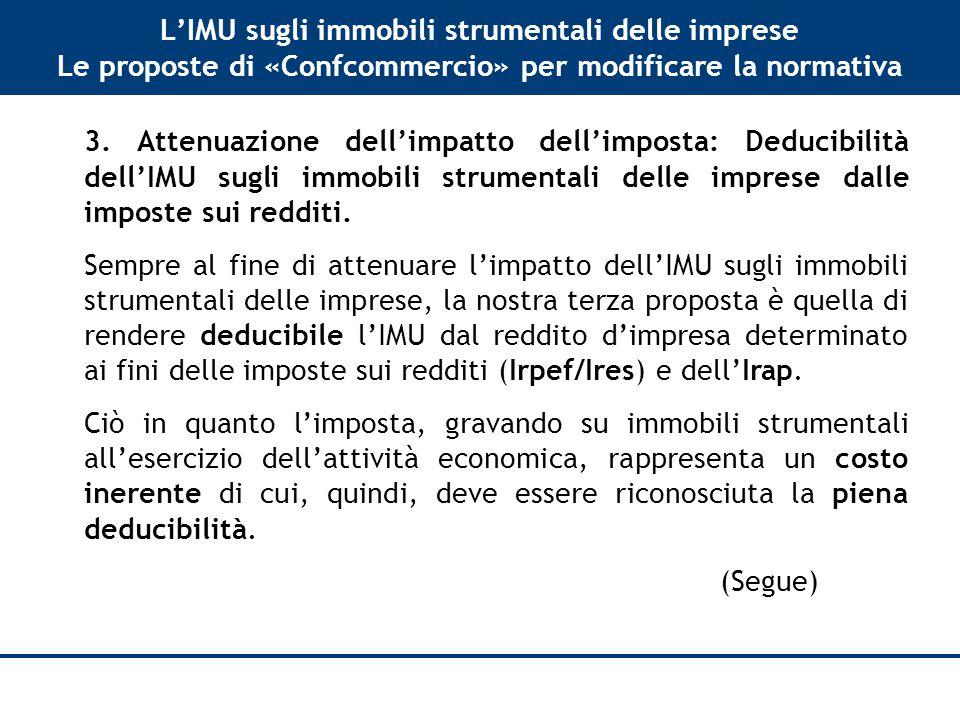 L'IMU sugli immobili strumentali delle imprese Le proposte di «Confcommercio» per modificare la normativa 3.