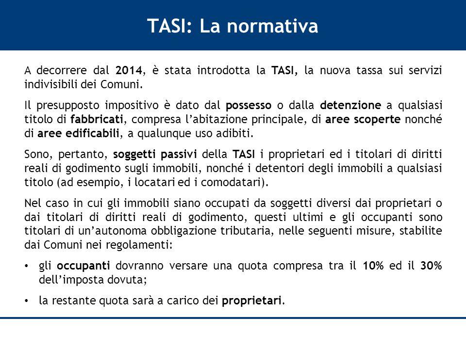 TASI: La normativa A decorrere dal 2014, è stata introdotta la TASI, la nuova tassa sui servizi indivisibili dei Comuni.