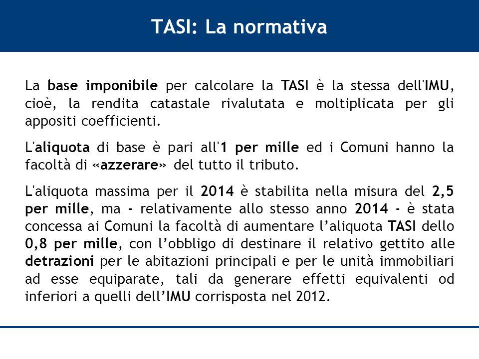 TASI: La normativa La base imponibile per calcolare la TASI è la stessa dell IMU, cioè, la rendita catastale rivalutata e moltiplicata per gli appositi coefficienti.