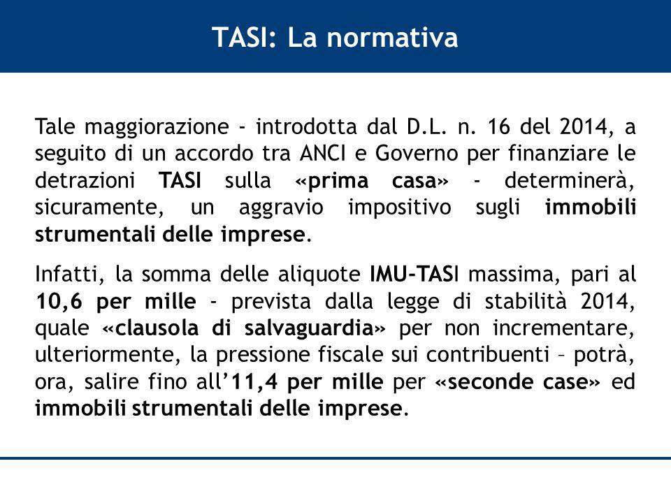 TASI: La normativa Tale maggiorazione - introdotta dal D.L.