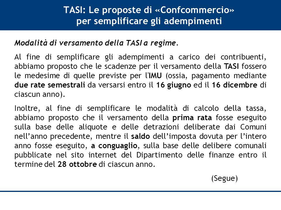 TASI: Le proposte di «Confcommercio» per semplificare gli adempimenti Modalità di versamento della TASI a regime.