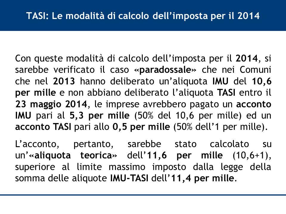 TASI: Le modalità di calcolo dell'imposta per il 2014 Con queste modalità di calcolo dell'imposta per il 2014, si sarebbe verificato il caso «paradossale» che nei Comuni che nel 2013 hanno deliberato un'aliquota IMU del 10,6 per mille e non abbiano deliberato l'aliquota TASI entro il 23 maggio 2014, le imprese avrebbero pagato un acconto IMU pari al 5,3 per mille (50% del 10,6 per mille) ed un acconto TASI pari allo 0,5 per mille (50% dell'1 per mille).