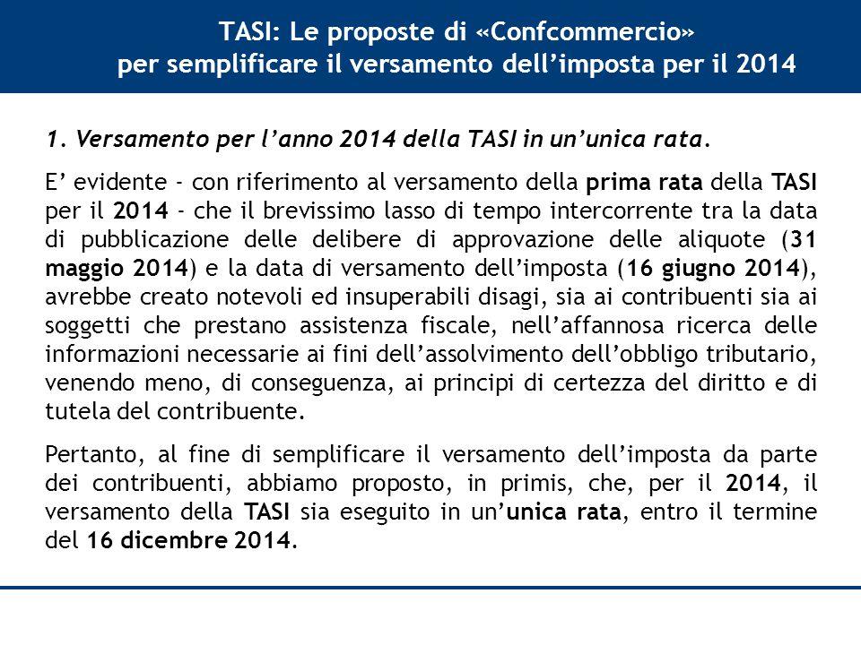 TASI: Le proposte di «Confcommercio» per semplificare il versamento dell'imposta per il 2014 1.