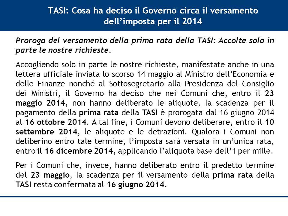 TASI: Cosa ha deciso il Governo circa il versamento dell'imposta per il 2014 Proroga del versamento della prima rata della TASI: Accolte solo in parte le nostre richieste.