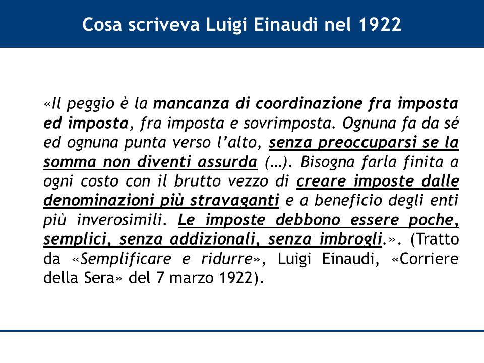 Cosa scriveva Luigi Einaudi nel 1922 «Il peggio è la mancanza di coordinazione fra imposta ed imposta, fra imposta e sovrimposta.