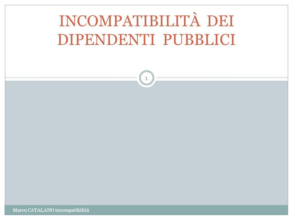 Marco CATALANO incompatibilità 1 INCOMPATIBILITÀ DEI DIPENDENTI PUBBLICI