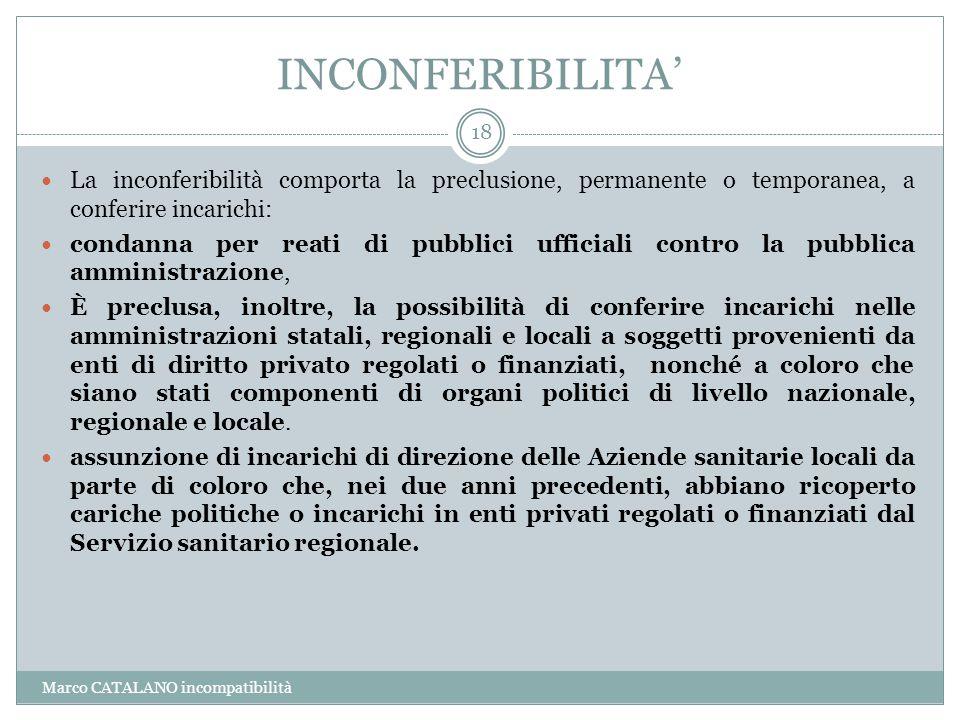 INCONFERIBILITA' La inconferibilità comporta la preclusione, permanente o temporanea, a conferire incarichi: condanna per reati di pubblici ufficiali