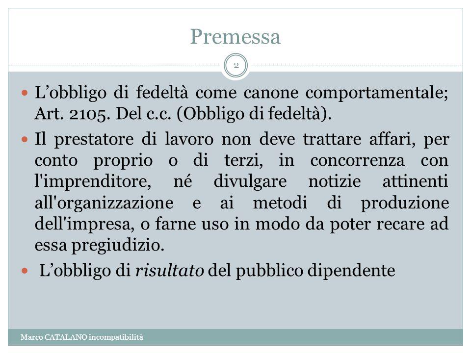 Premessa Marco CATALANO incompatibilità 2 L'obbligo di fedeltà come canone comportamentale; Art. 2105. Del c.c. (Obbligo di fedeltà). Il prestatore di