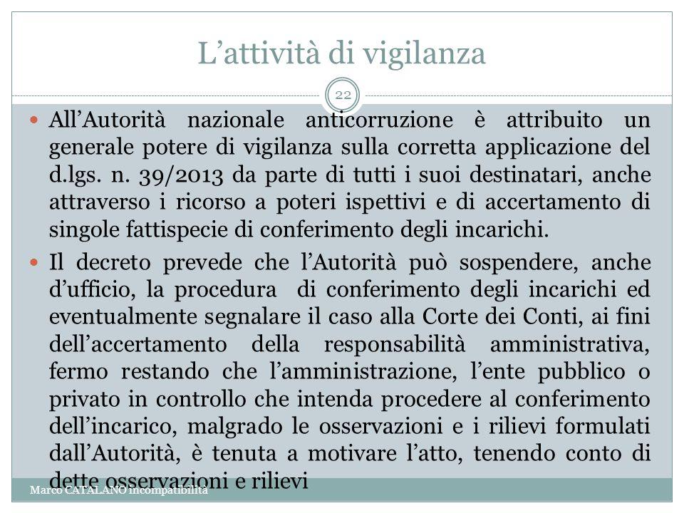 L'attività di vigilanza All'Autorità nazionale anticorruzione è attribuito un generale potere di vigilanza sulla corretta applicazione del d.lgs. n. 3