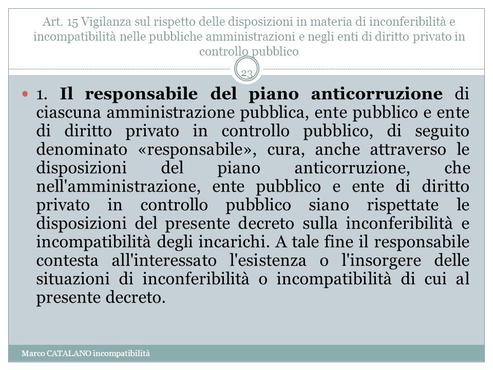 Art. 15 Vigilanza sul rispetto delle disposizioni in materia di inconferibilità e incompatibilità nelle pubbliche amministrazioni e negli enti di diri