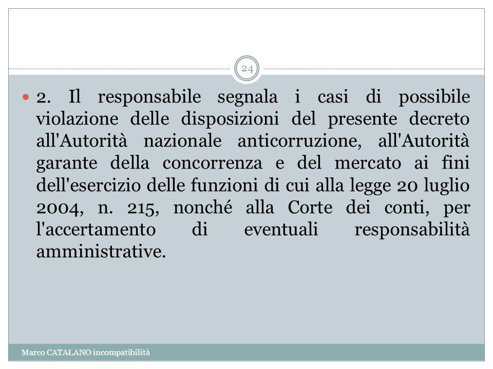 Marco CATALANO incompatibilità 24 2. Il responsabile segnala i casi di possibile violazione delle disposizioni del presente decreto all'Autorità nazio