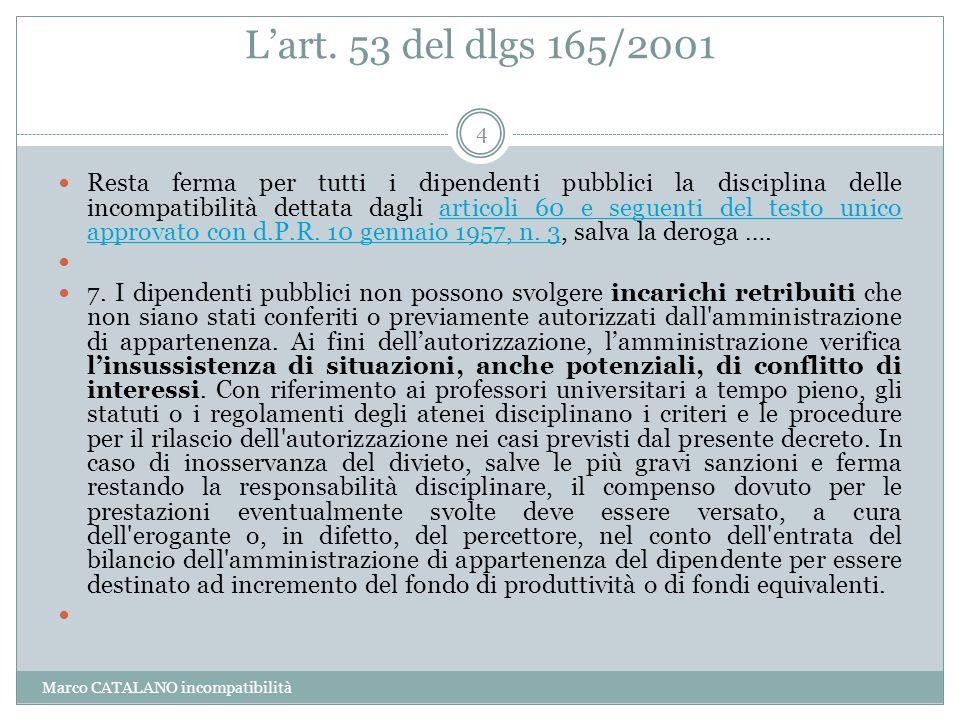 L'art. 53 del dlgs 165/2001 Marco CATALANO incompatibilità 4 Resta ferma per tutti i dipendenti pubblici la disciplina delle incompatibilità dettata d