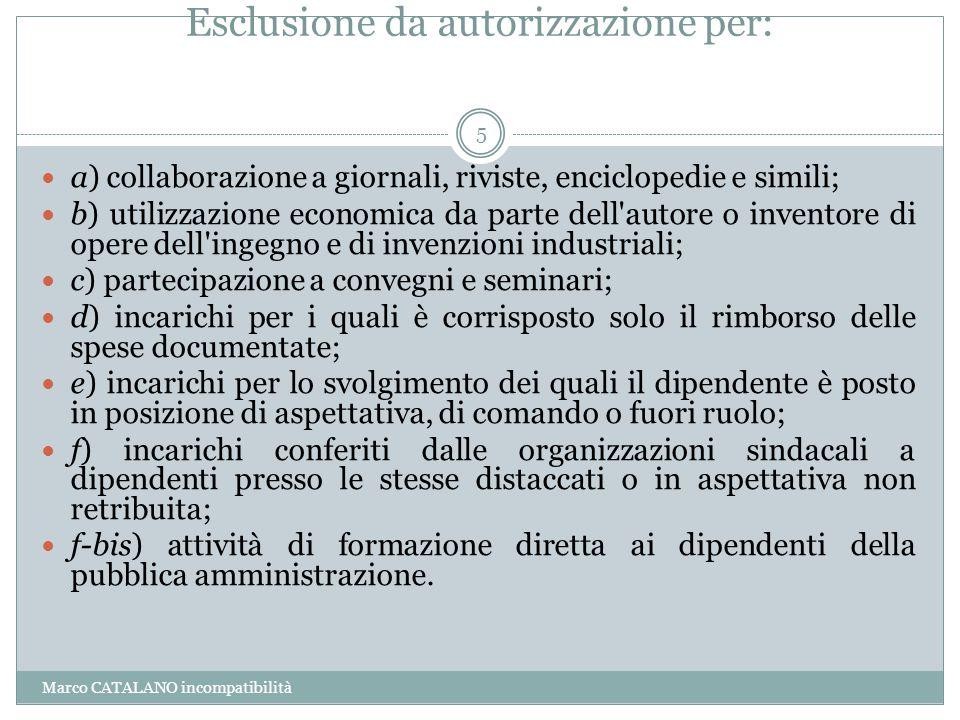 Esclusione da autorizzazione per: Marco CATALANO incompatibilità 5 a) collaborazione a giornali, riviste, enciclopedie e simili; b) utilizzazione econ