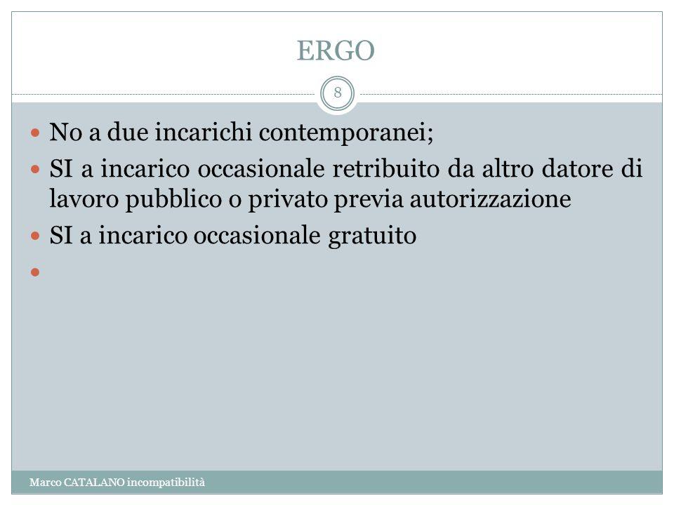 ERGO Marco CATALANO incompatibilità 8 No a due incarichi contemporanei; SI a incarico occasionale retribuito da altro datore di lavoro pubblico o priv