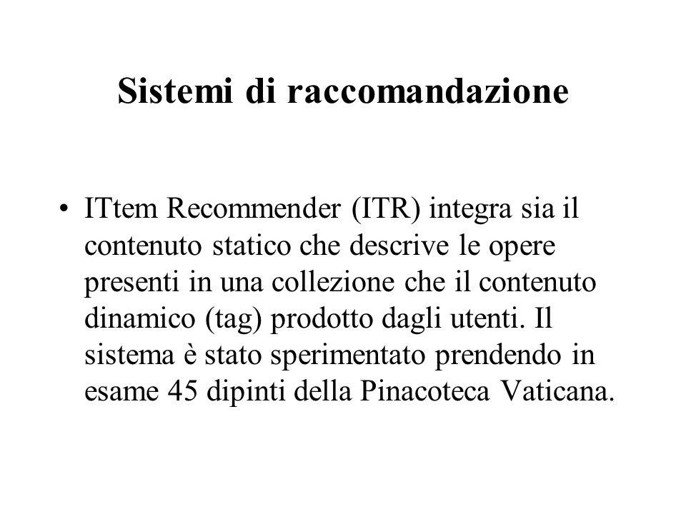 Sistemi di raccomandazione ITtem Recommender (ITR) integra sia il contenuto statico che descrive le opere presenti in una collezione che il contenuto