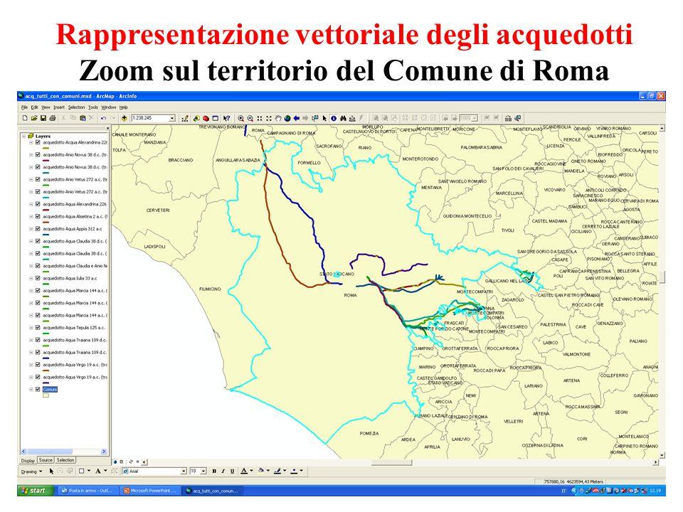 Rappresentazione vettoriale degli acquedotti Zoom sul territorio del Comune di Roma