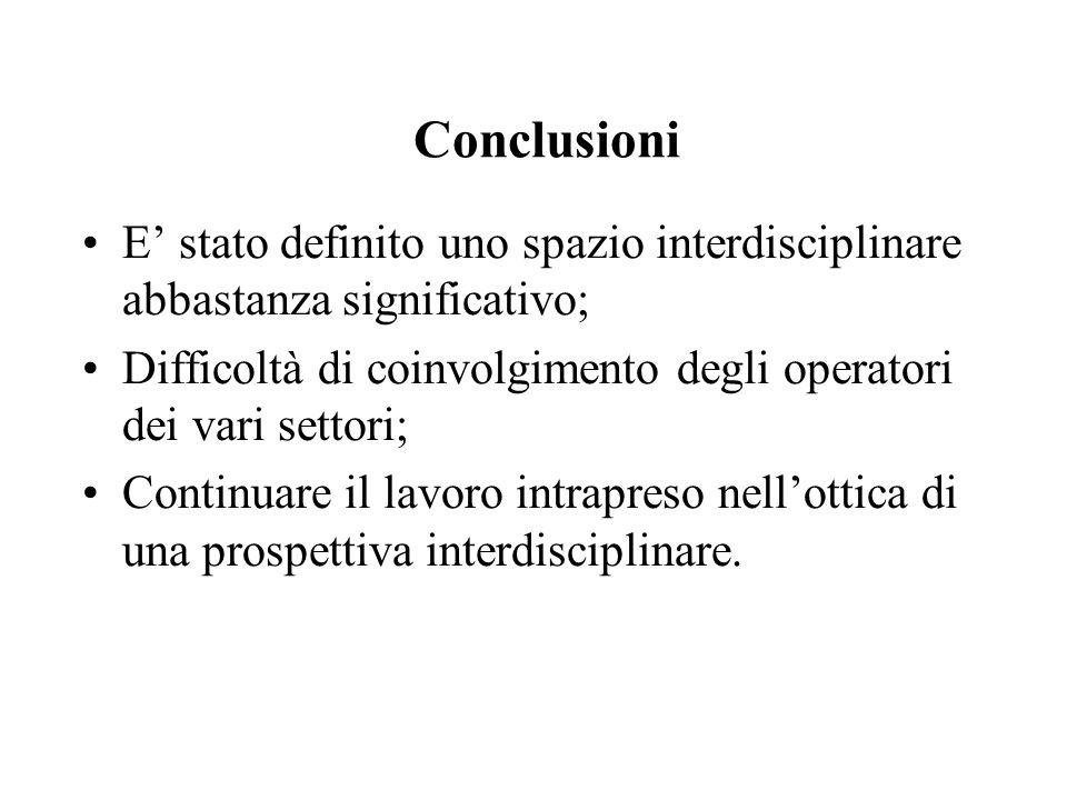 Conclusioni E' stato definito uno spazio interdisciplinare abbastanza significativo; Difficoltà di coinvolgimento degli operatori dei vari settori; Co