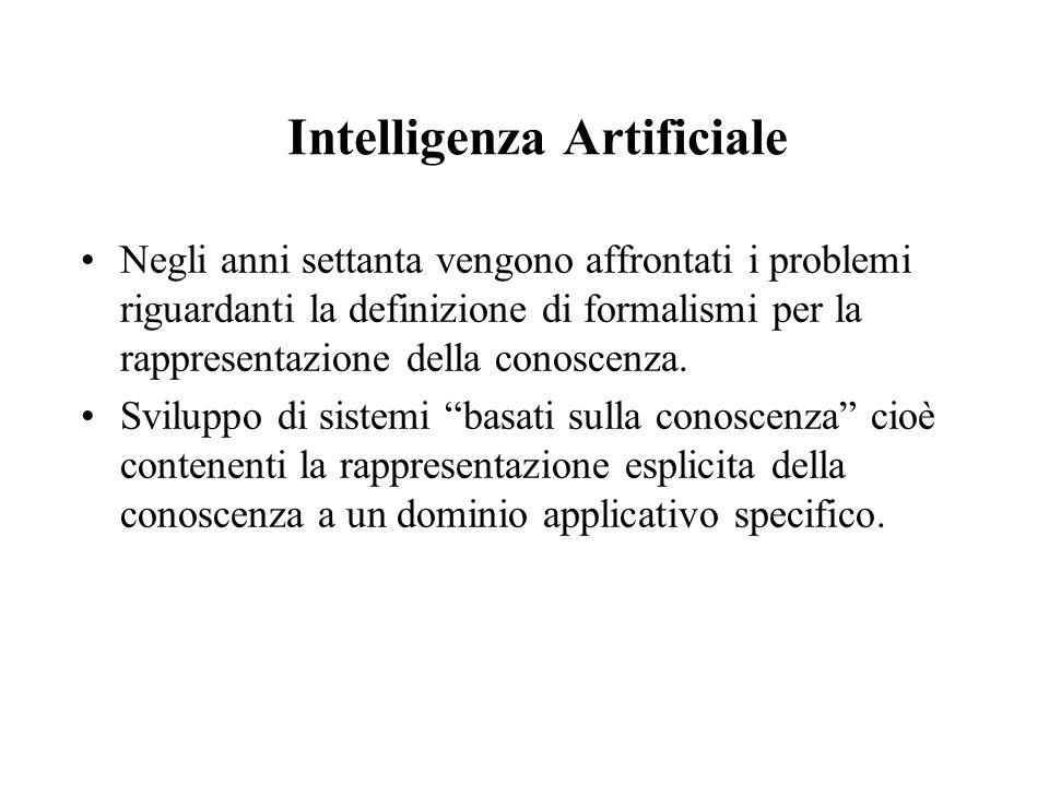 Intelligenza Artificiale Negli anni settanta vengono affrontati i problemi riguardanti la definizione di formalismi per la rappresentazione della cono