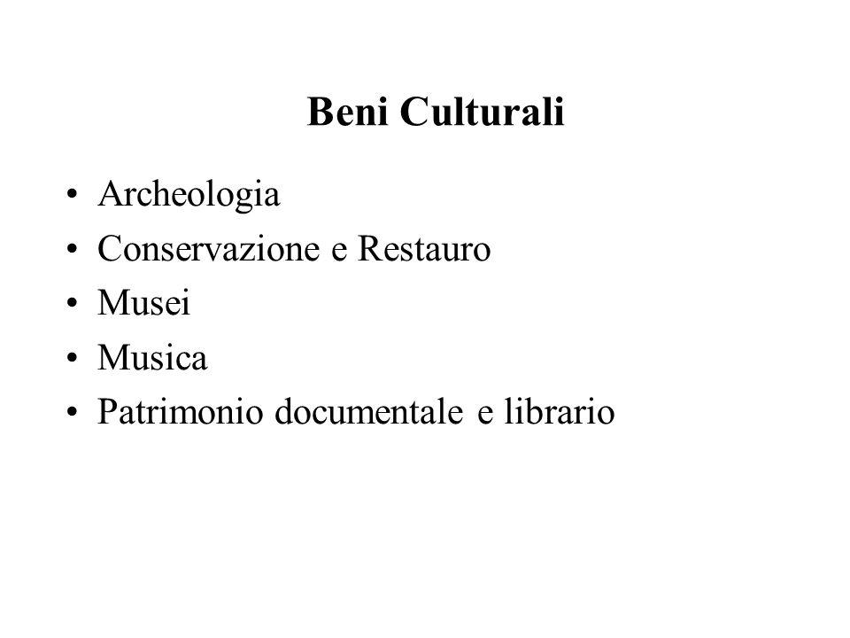 Beni Culturali Archeologia Conservazione e Restauro Musei Musica Patrimonio documentale e librario