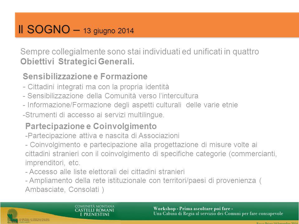 11 Il SOGNO – 13 giugno 2014 Sempre collegialmente sono stai individuati ed unificati in quattro Obiettivi Strategici Generali.