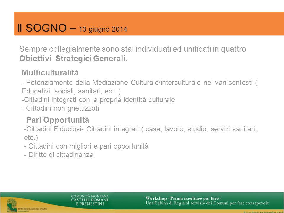12 Il SOGNO – 13 giugno 2014 Sempre collegialmente sono stai individuati ed unificati in quattro Obiettivi Strategici Generali.