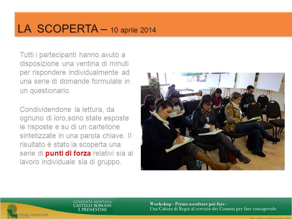 5 LA SCOPERTA – 10 aprile 2014 Tutti i partecipanti hanno avuto a disposizione una ventina di minuti per rispondere individualmente ad una serie di domande formulate in un questionario.