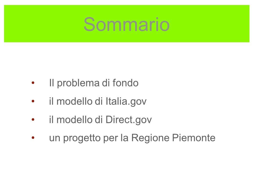 Sommario Il problema di fondo il modello di Italia.gov il modello di Direct.gov un progetto per la Regione Piemonte