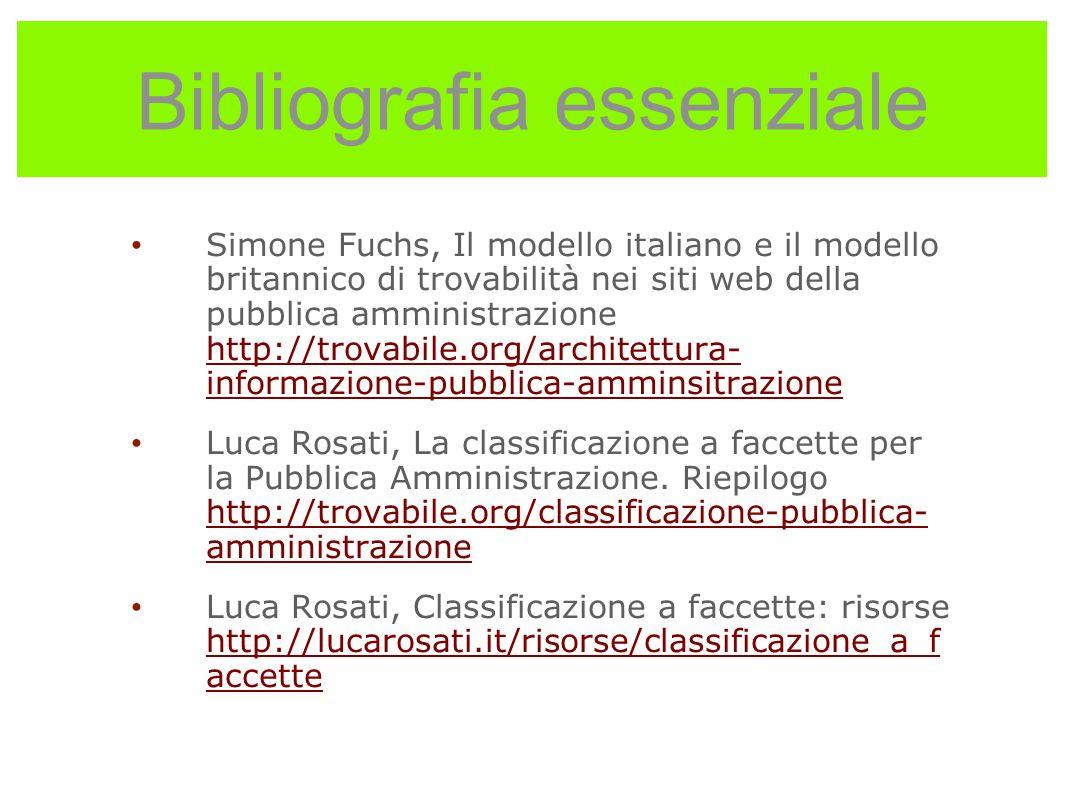 Bibliografia essenziale Simone Fuchs, Il modello italiano e il modello britannico di trovabilità nei siti web della pubblica amministrazione http://tr
