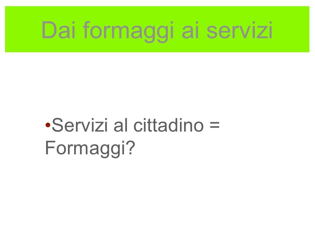 Dai formaggi ai servizi Servizi al cittadino = Formaggi?