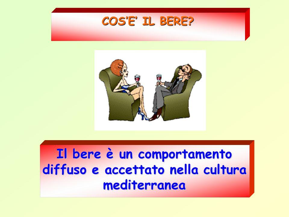 COS'E' IL BERE? Il bere è un comportamento diffuso e accettato nella cultura mediterranea