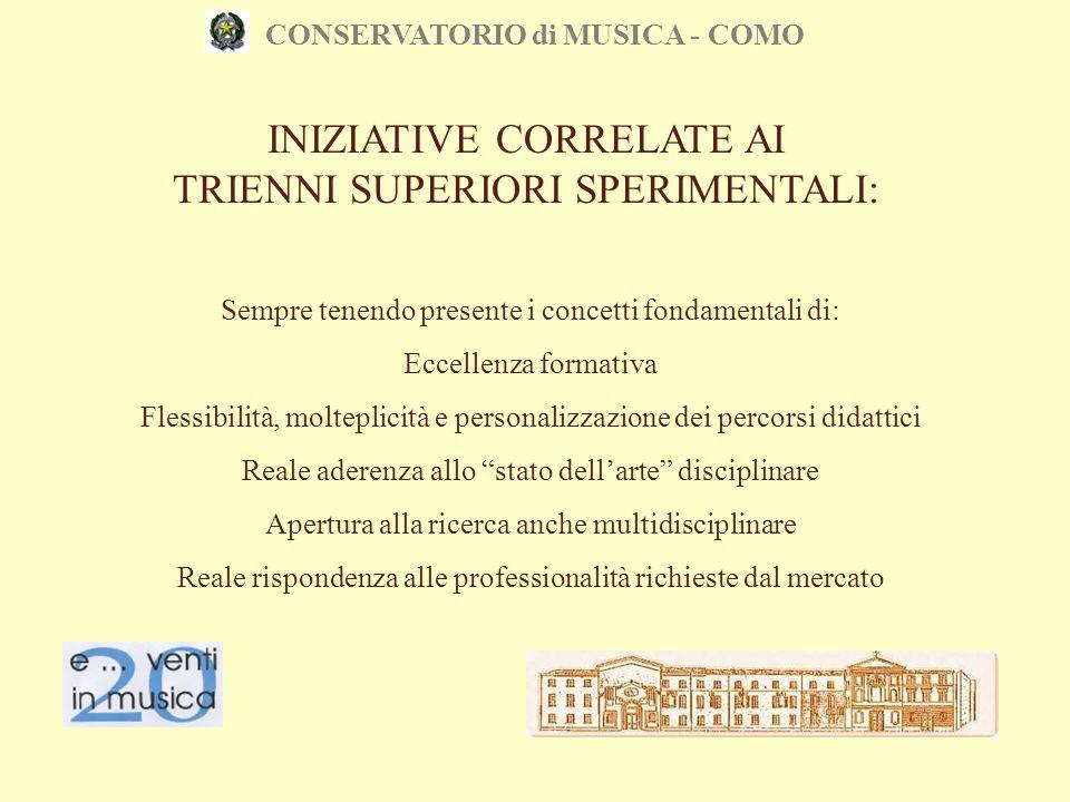 CONSERVATORIO di MUSICA - COMO INIZIATIVE CORRELATE AI TRIENNI SUPERIORI SPERIMENTALI: Sempre tenendo presente i concetti fondamentali di: Eccellenza