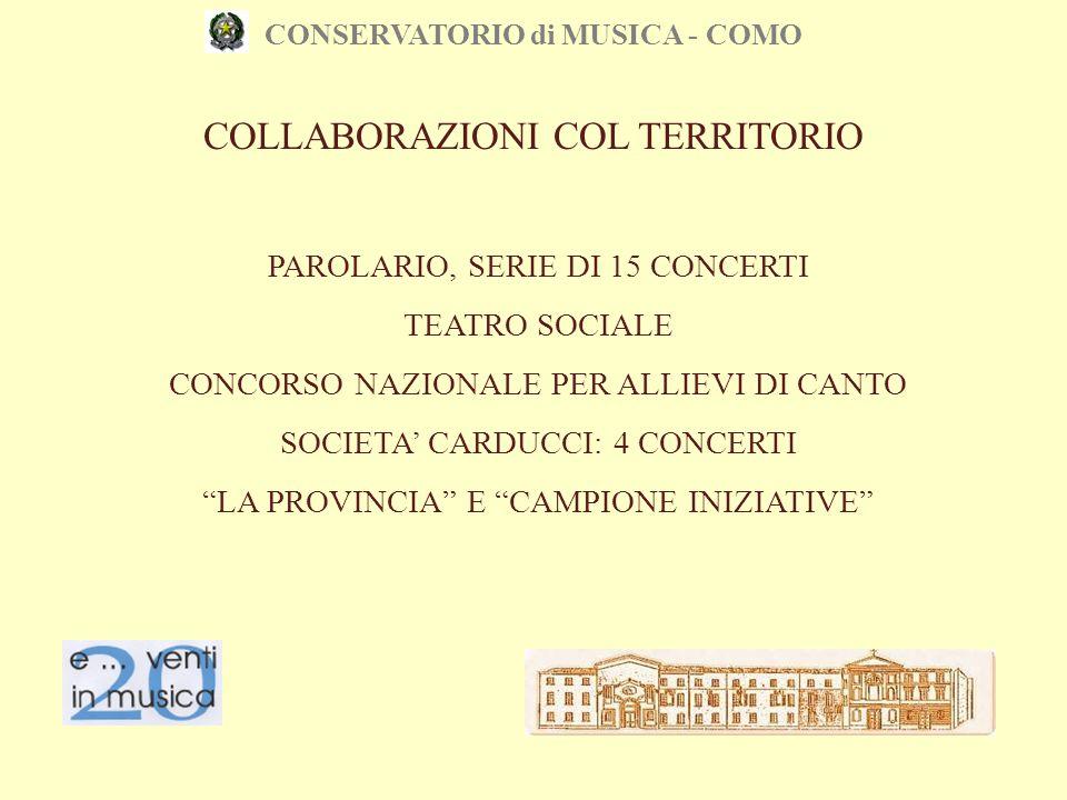 CONSERVATORIO di MUSICA - COMO COLLABORAZIONI COL TERRITORIO PAROLARIO, SERIE DI 15 CONCERTI TEATRO SOCIALE CONCORSO NAZIONALE PER ALLIEVI DI CANTO SO
