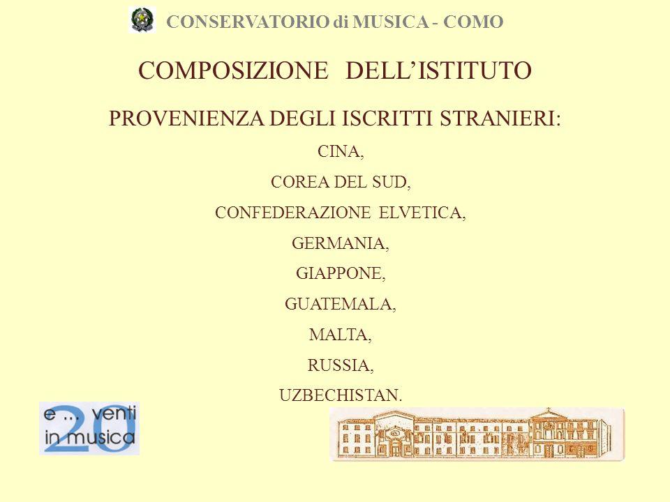 CONSERVATORIO di MUSICA - COMO CINA, COREA DEL SUD, CONFEDERAZIONE ELVETICA, GERMANIA, GIAPPONE, GUATEMALA, MALTA, RUSSIA, UZBECHISTAN. PROVENIENZA DE