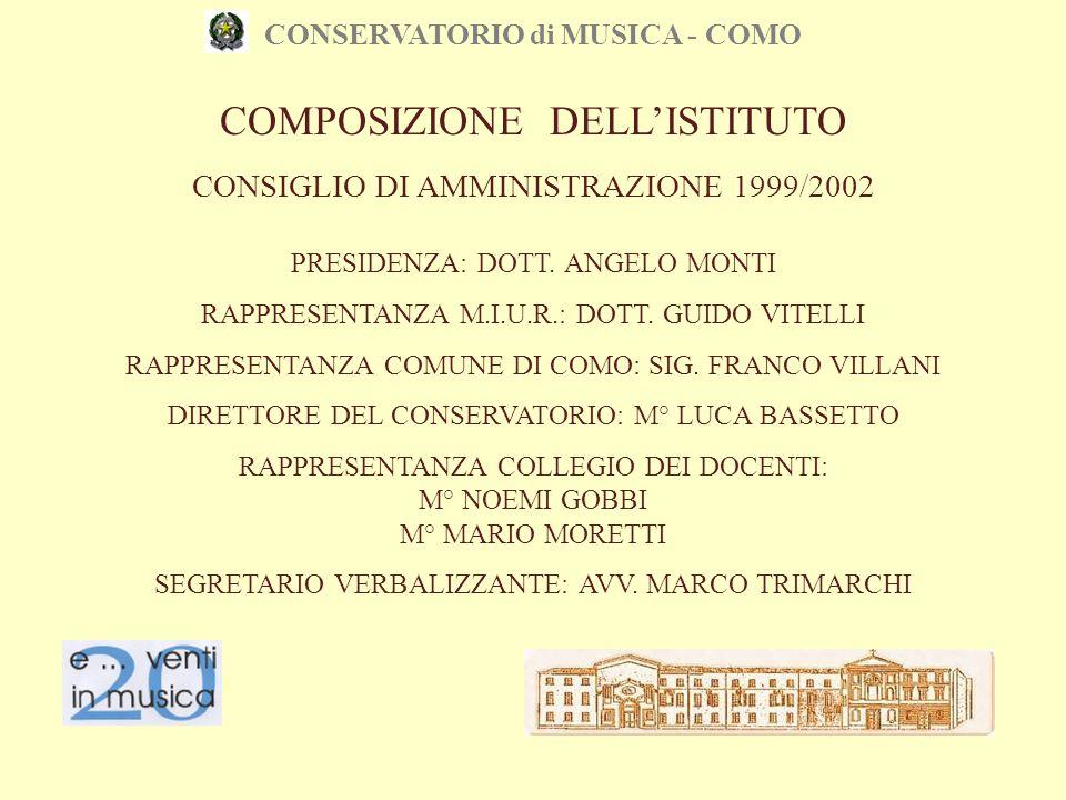 CONSERVATORIO di MUSICA - COMO CONSIGLIO DI AMMINISTRAZIONE 1999/2002 PRESIDENZA: DOTT. ANGELO MONTI RAPPRESENTANZA M.I.U.R.: DOTT. GUIDO VITELLI RAPP