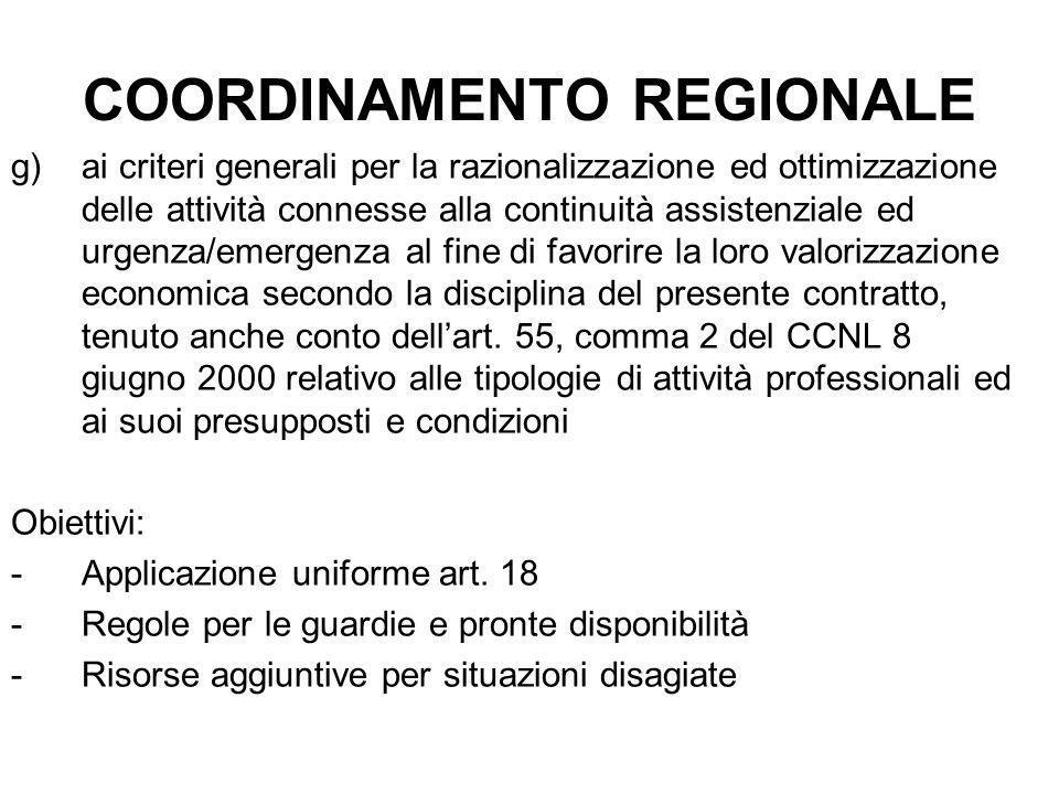 COORDINAMENTO REGIONALE g)ai criteri generali per la razionalizzazione ed ottimizzazione delle attività connesse alla continuità assistenziale ed urge
