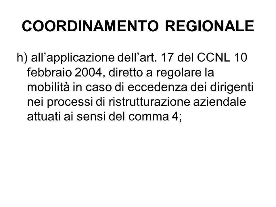 COORDINAMENTO REGIONALE h) all'applicazione dell'art. 17 del CCNL 10 febbraio 2004, diretto a regolare la mobilità in caso di eccedenza dei dirigenti