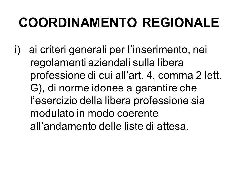 COORDINAMENTO REGIONALE i) ai criteri generali per l'inserimento, nei regolamenti aziendali sulla libera professione di cui all'art. 4, comma 2 lett.