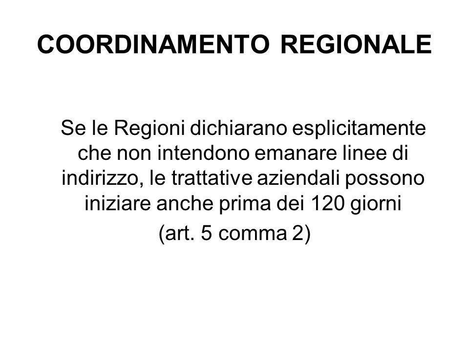 COORDINAMENTO REGIONALE Se le Regioni dichiarano esplicitamente che non intendono emanare linee di indirizzo, le trattative aziendali possono iniziare anche prima dei 120 giorni (art.