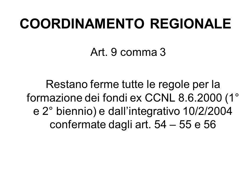 COORDINAMENTO REGIONALE Art. 9 comma 3 Restano ferme tutte le regole per la formazione dei fondi ex CCNL 8.6.2000 (1° e 2° biennio) e dall'integrativo