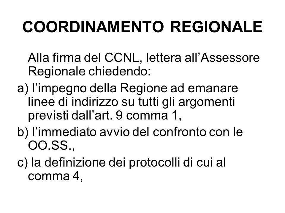 COORDINAMENTO REGIONALE Alla firma del CCNL, lettera all'Assessore Regionale chiedendo: a) l'impegno della Regione ad emanare linee di indirizzo su tutti gli argomenti previsti dall'art.