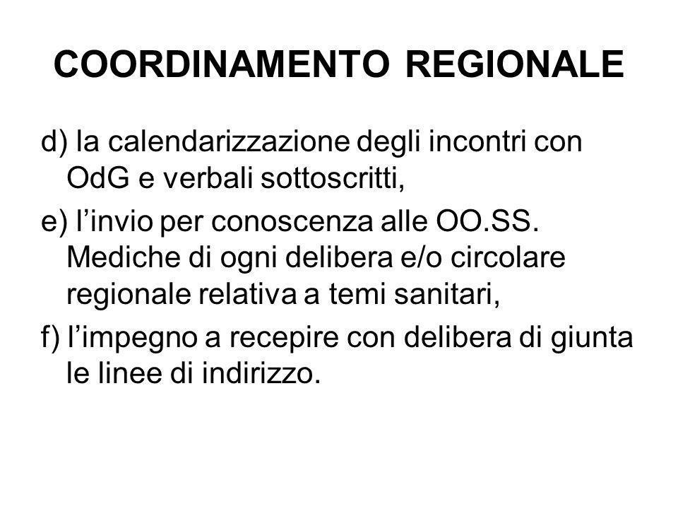 COORDINAMENTO REGIONALE d) la calendarizzazione degli incontri con OdG e verbali sottoscritti, e) l'invio per conoscenza alle OO.SS.