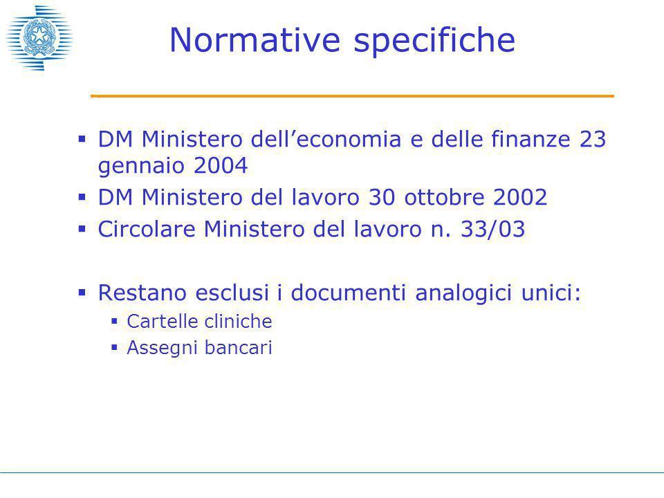 Normative specifiche  DM Ministero dell'economia e delle finanze 23 gennaio 2004  DM Ministero del lavoro 30 ottobre 2002  Circolare Ministero del lavoro n.