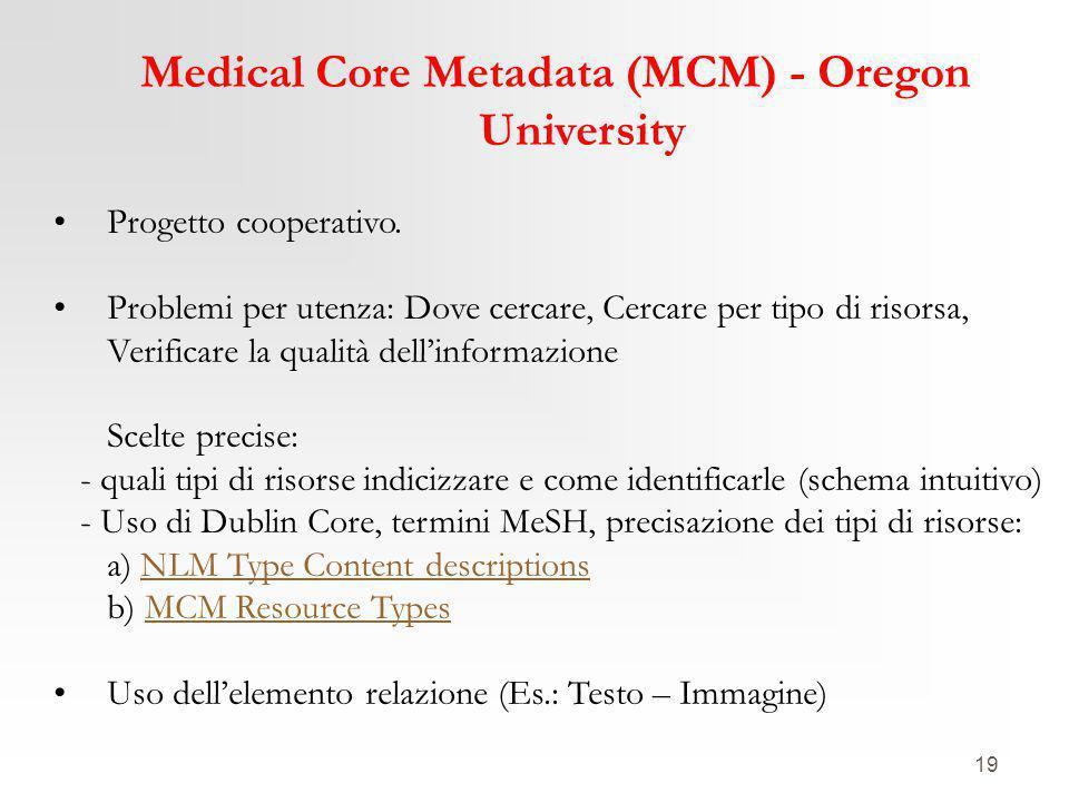19 Medical Core Metadata (MCM) - Oregon University Progetto cooperativo. Problemi per utenza: Dove cercare, Cercare per tipo di risorsa, Verificare la