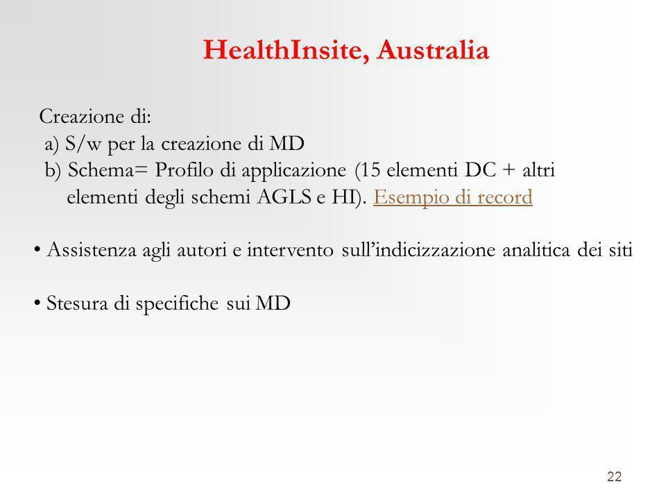22 HealthInsite, Australia Creazione di: a) S/w per la creazione di MD b) Schema= Profilo di applicazione (15 elementi DC + altri elementi degli schemi AGLS e HI).