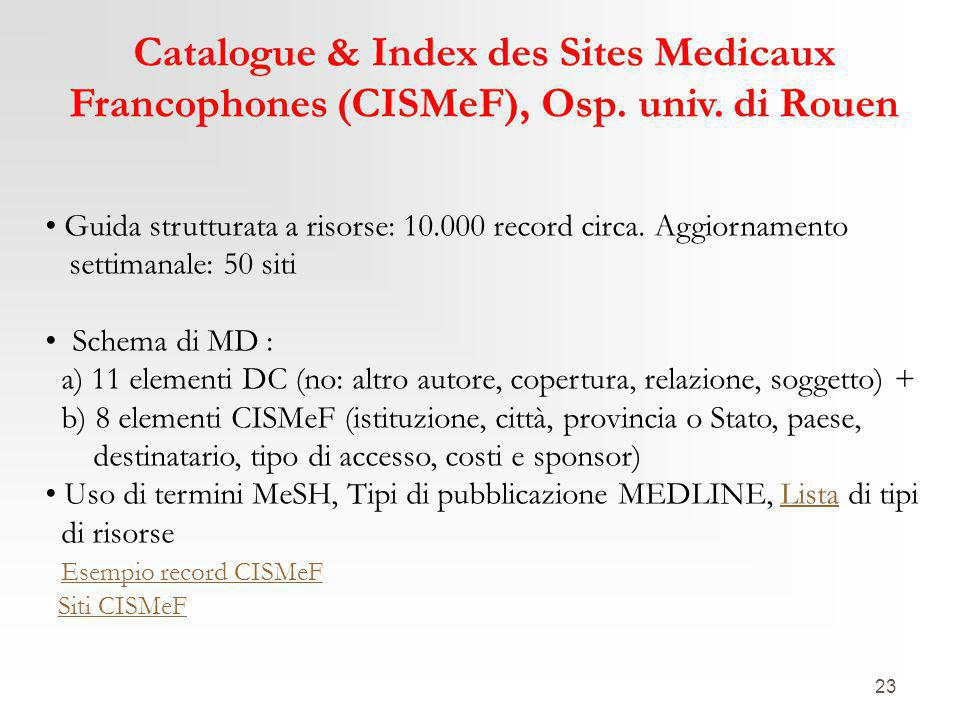23 Catalogue & Index des Sites Medicaux Francophones (CISMeF), Osp.
