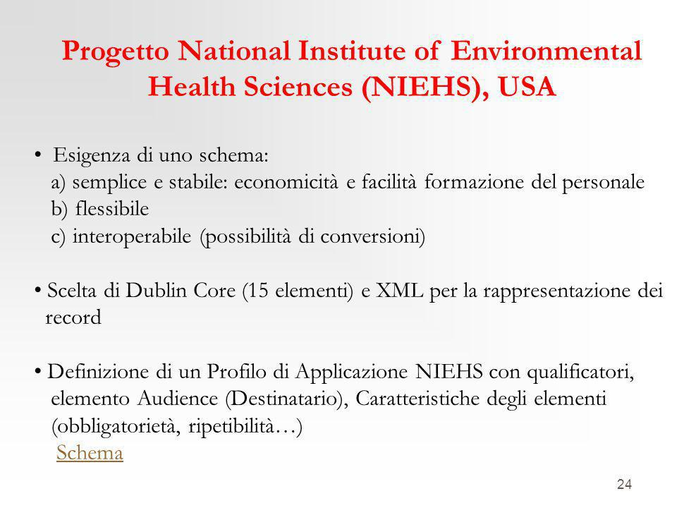 24 Progetto National Institute of Environmental Health Sciences (NIEHS), USA Esigenza di uno schema: a) semplice e stabile: economicità e facilità for